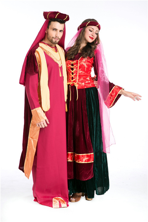 European and American game uniform for Halloween Dance Arab mens couple costume role play exotic performance costume women