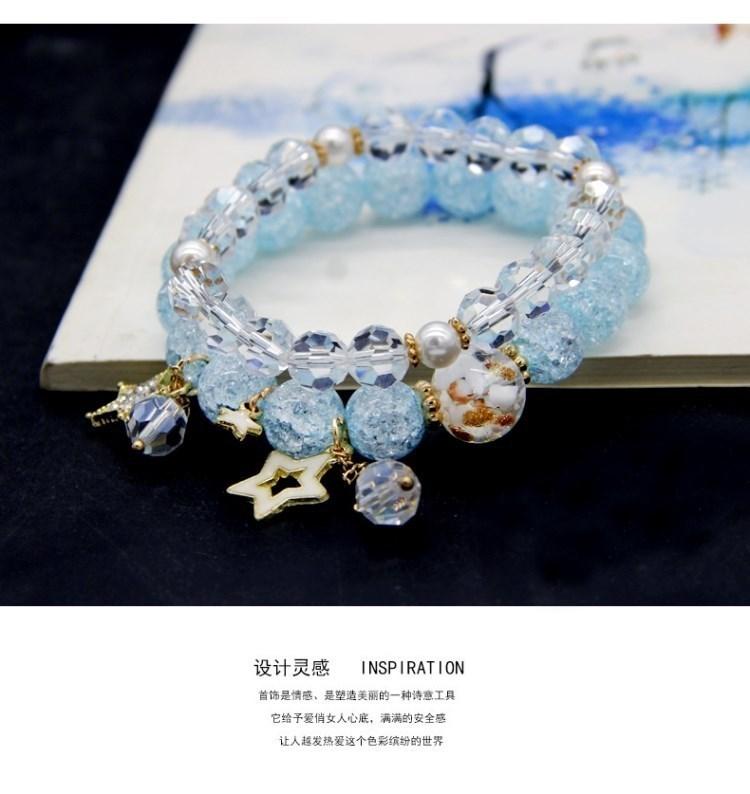 Childrens bracelet girl Princess elastic Beaded crystal bracelet girl bracelet Jewelry x constellation Bracelet 12 students