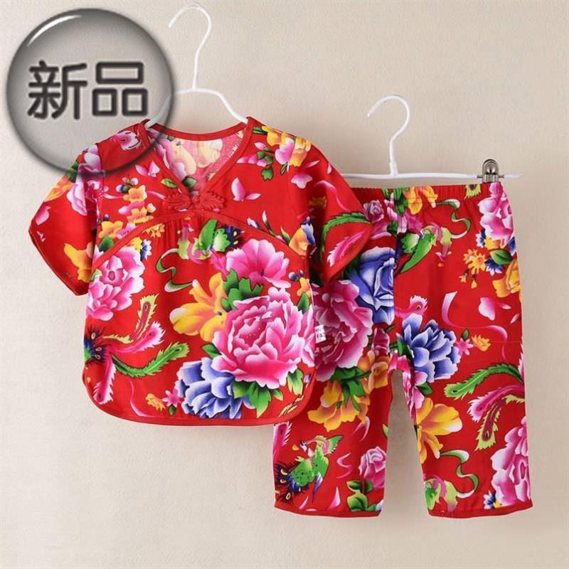 Northeast big flower suit baby infant buckle Chinese style baby clothes 12 months a closed