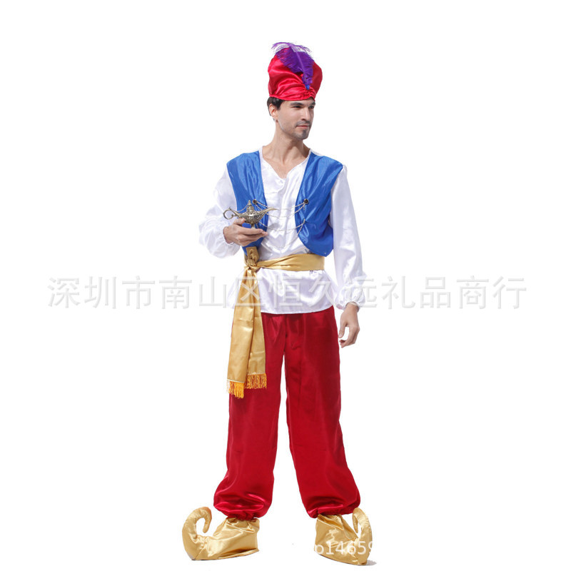 Aladdin parents and childrens costume role play costume ball performance Costume Halloween children adult male