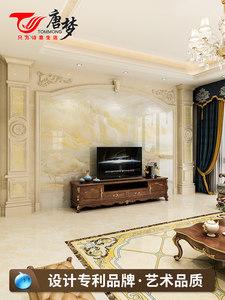 大理石电视背景墙瓷砖唐梦包安装微晶石材欧式客厅罗马柱影视墙