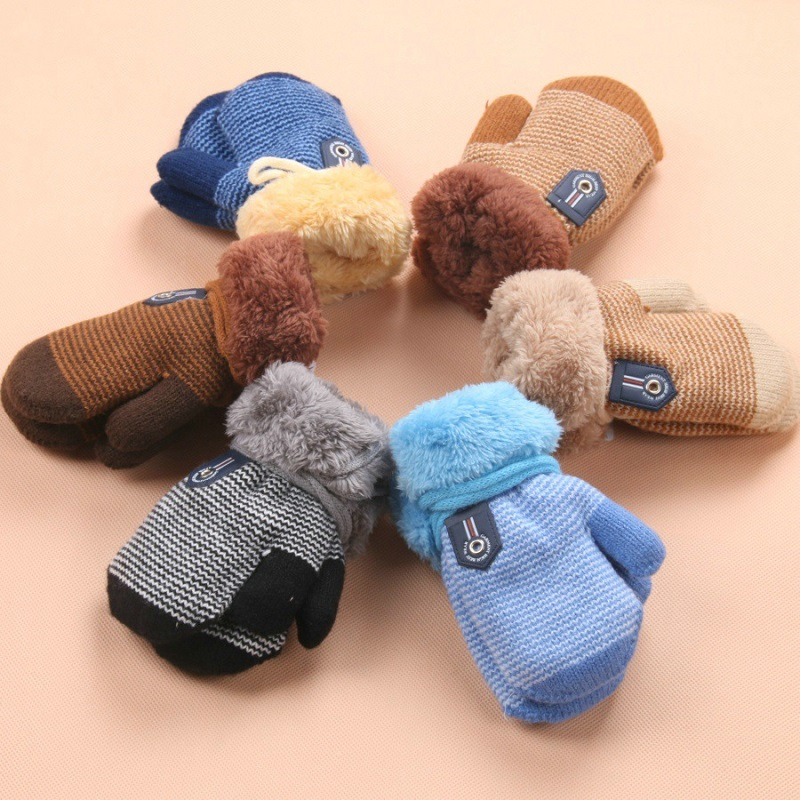 - Years Baby Boys Girls Winter Knitted Gloves Warm Rope Ful