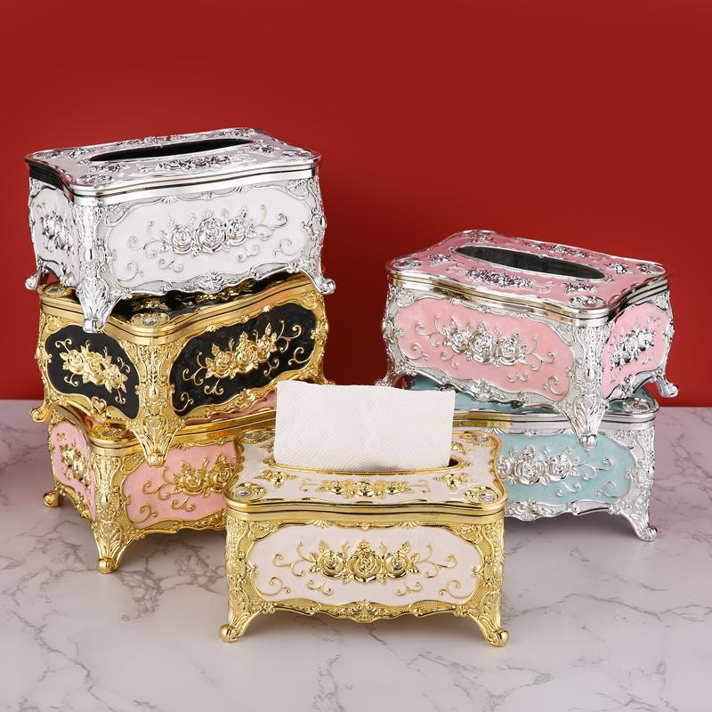欧式纸巾盒家用客厅抽纸盒创意轻奢纸抽北欧ins餐巾纸盒餐厅摆件