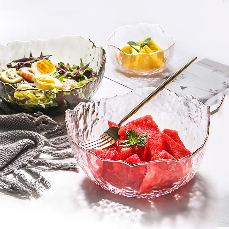 日式烧仙草玻璃碗水果盘客厅水果碗蔬菜金边沙拉碗 家用碗碟套装