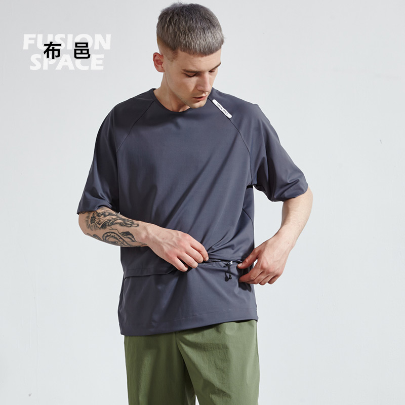 Buyi short sleeve t-shirt mens new raglan sleeve loose casual round neck sweat absorption breathable function quick drying sports mens T-shirt