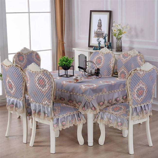 美人纱餐椅垫套装中式家用椅子套餐桌布布艺椅套椅子罩餐桌布套装
