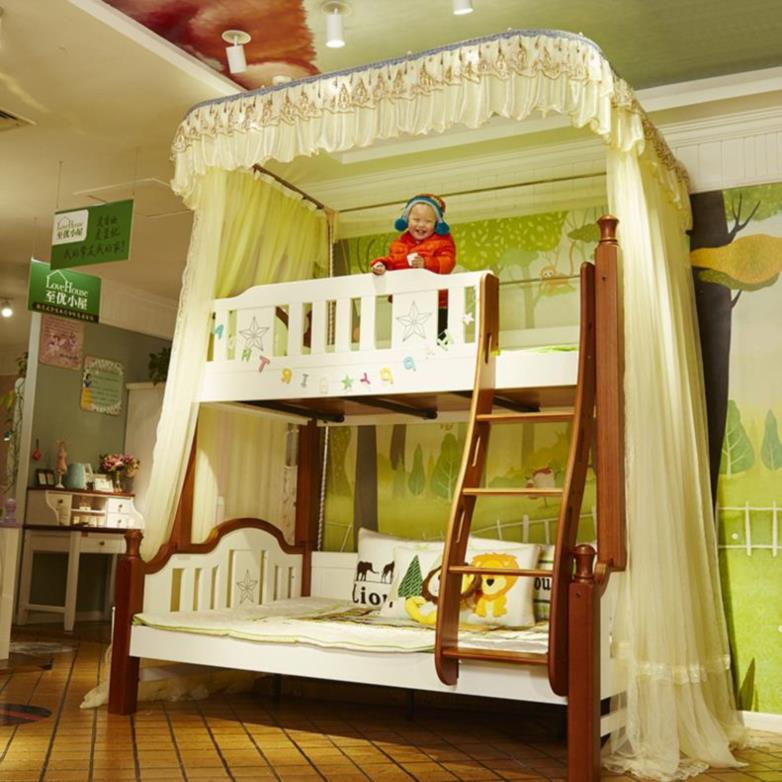 加支架下铺奢华。蚊帐学生宿舍床幔白色双层床1.5上新中式少女