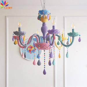 马卡龙水晶吊灯餐厅卧室灯儿童房男孩女孩创意温馨护眼家装美式灯