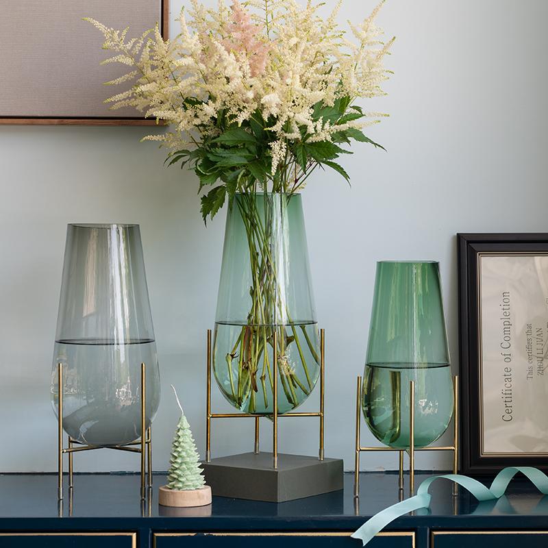 北欧轻奢创意铁艺支架水滴形状鲜花水培玻璃花瓶酒店居家装饰摆件