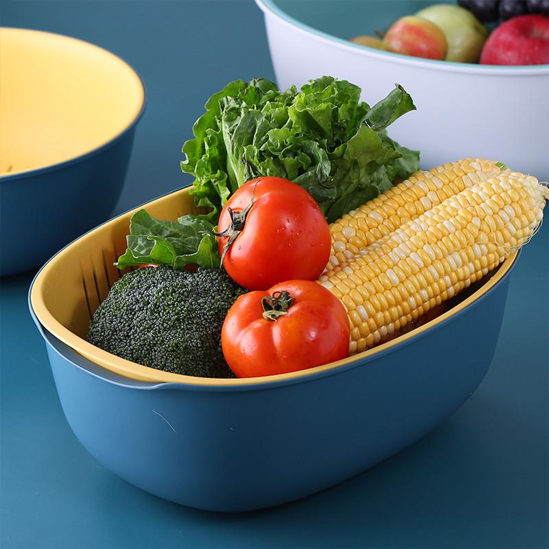 双层家用塑料沥水篮洗菜篮洗水果篮厨房淘菜洗菜盆密孔多用篮