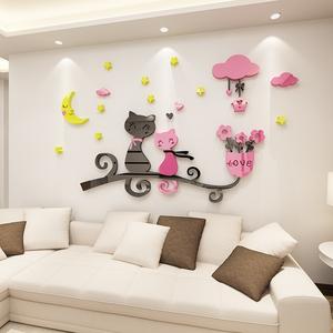 月亮猫3d亚克力立体墙贴儿童房客厅沙发卧室电视背景墙装饰自粘贴