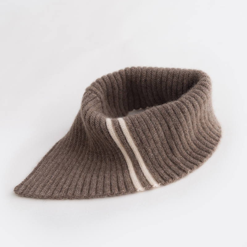 Junshanyi 100% pure cashmere knitted small neckband scarf for women in autumn and winter
