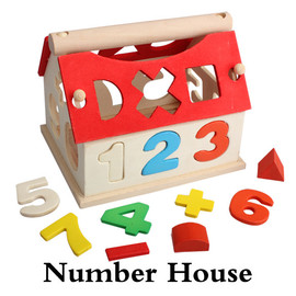 0-9 Number Baby Children Wooden Toy House Intellectual Soupt