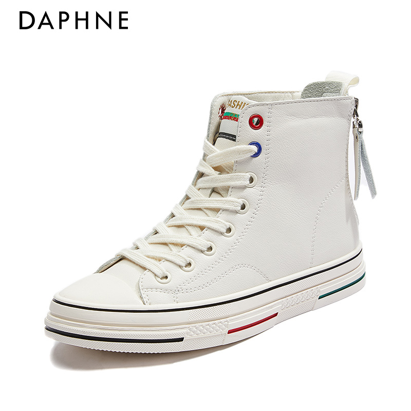 Daphne high-top canvas shoes female 2021 new summer thin section wild white shoes explosion model leather women's shoes spring