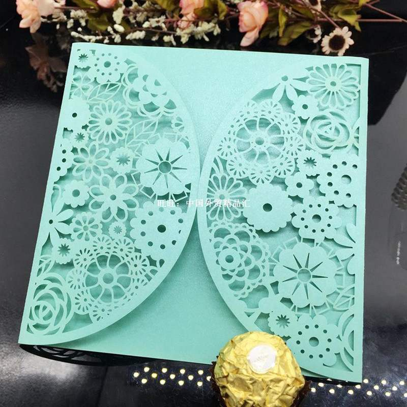 10pcs/set Cute Flower Laser Cut Wedding Invitation Card Even图片