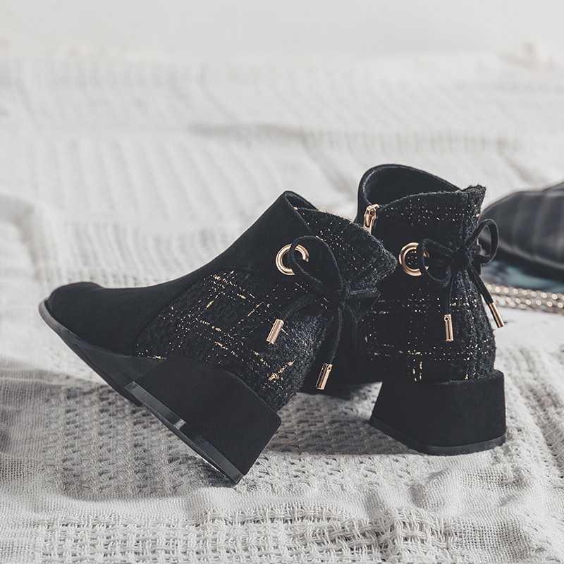 鞋子2019新款秋冬加绒蝴蝶结粗跟仙女风短靴女中跟马丁靴冬季鞋女