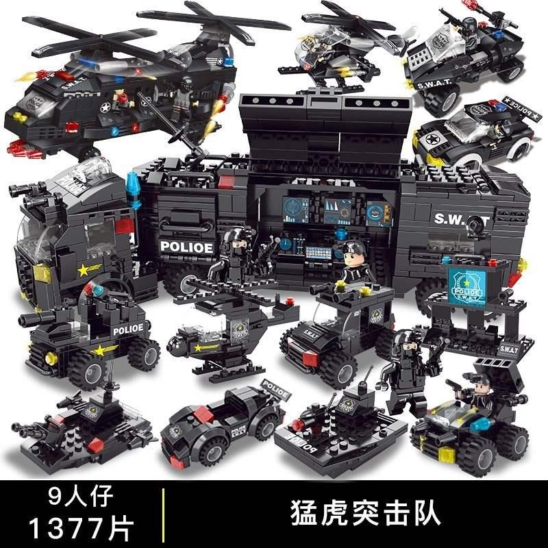 小汽车模型男孩男童益智积木男孩子拼装玩具车童车全套机器人