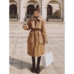 工装派克服女冬加绒加厚中长款风衣式棉服2021年新款韩版宽松棉袄