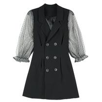 2020春装新款韩版复古桔梗波点网纱西装领连衣裙女显瘦拼接小黑裙
