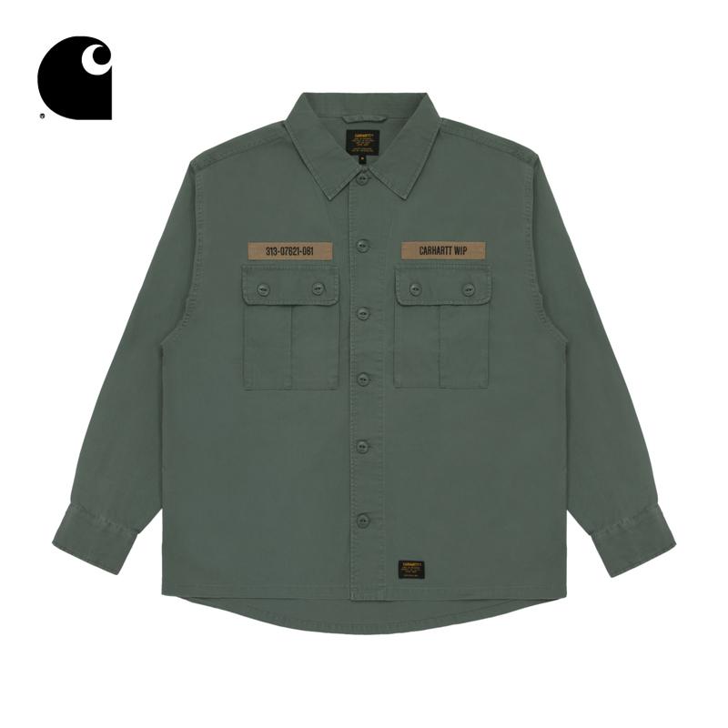 Carhartt WIP男装春夏军事风字母印花标签口袋休闲衬衫201006E
