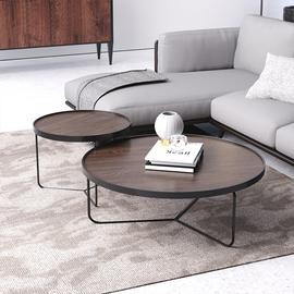 北欧圆形茶几现代简约家用小户型个性实木客厅创意式轻奢组合茶桌图片