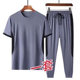短袖套装男夏季韩版休闲冰丝两件套青年圆领薄款透气长裤运动套装