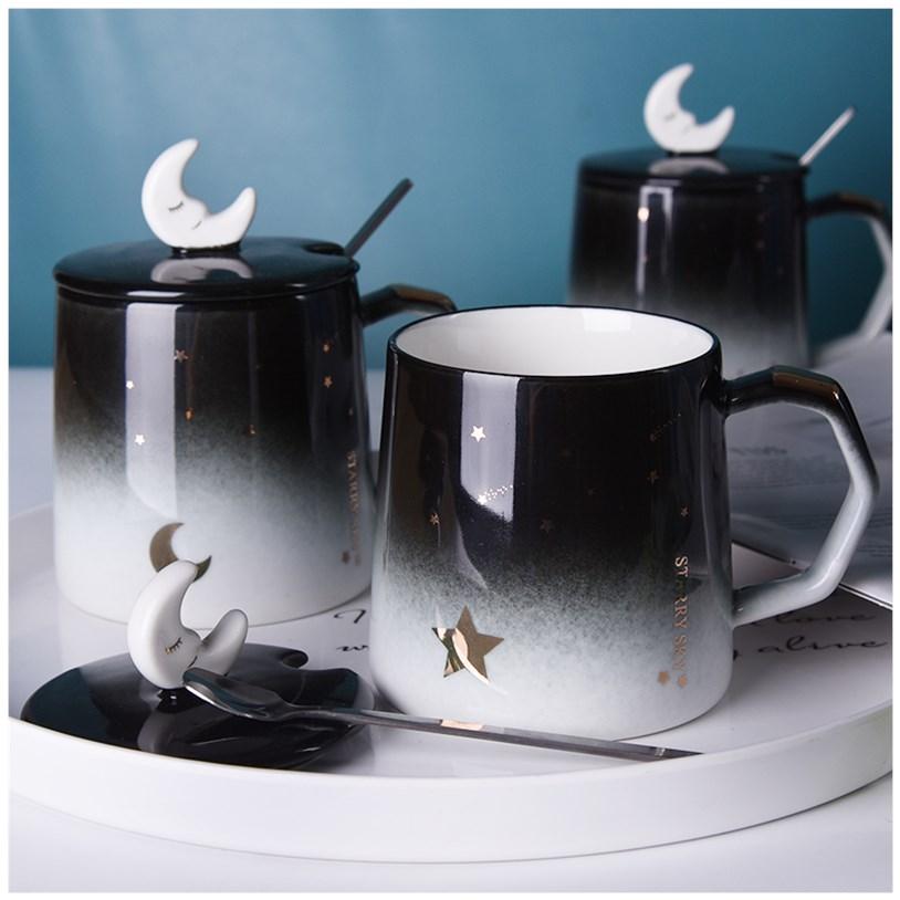 创意个性潮流陶瓷马克杯带盖勺家用办公室咖啡情侣喝水杯子一对款