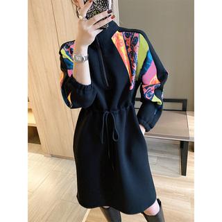 欧洲站收腰打底连衣裙女冬装2020新款黑色中长款卫衣裙子欧货潮春