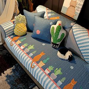 沙发垫四季通用北欧简约现代客厅全棉真皮坐垫子防滑套罩巾盖布夏