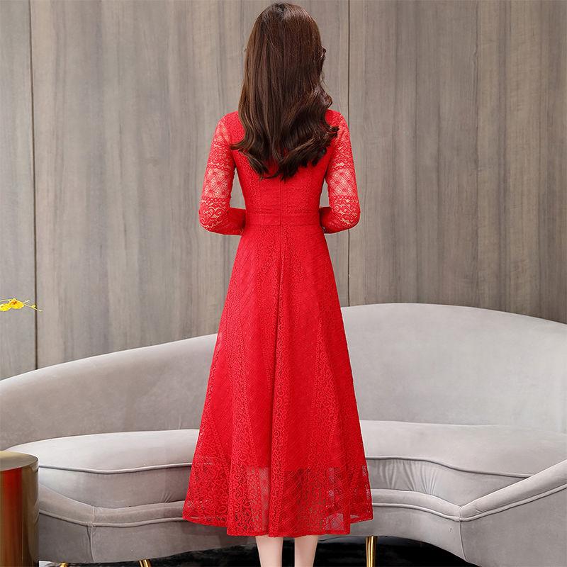 2020春装新款修身显瘦打底裙韩版气质春秋长袖蕾丝连衣裙女中长款