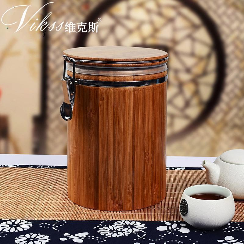 楠竹南竹子烟斗丝保湿罐咖啡豆保存罐茶叶密封罐保湿盒送保湿片