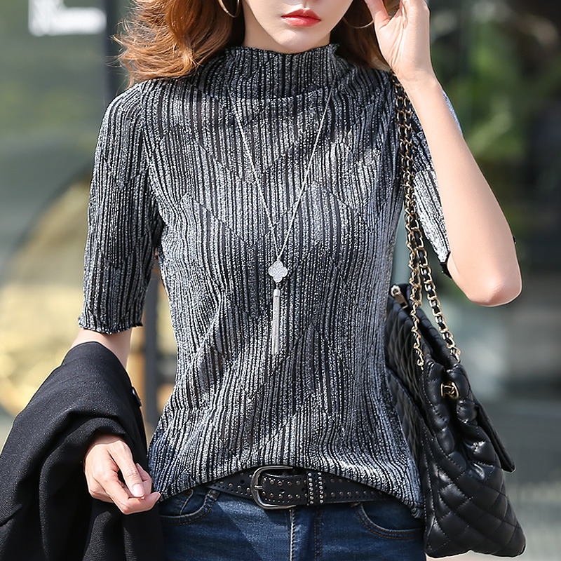 Early spring new bright silk half high collar 5 / s T-shirt womens foreign style base shirt spring 2020 top Han Banxia