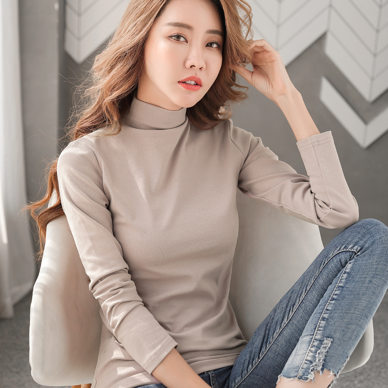 Womens new 2020 spring and autumn long sleeve T-shirt with half high collar and bottom coat