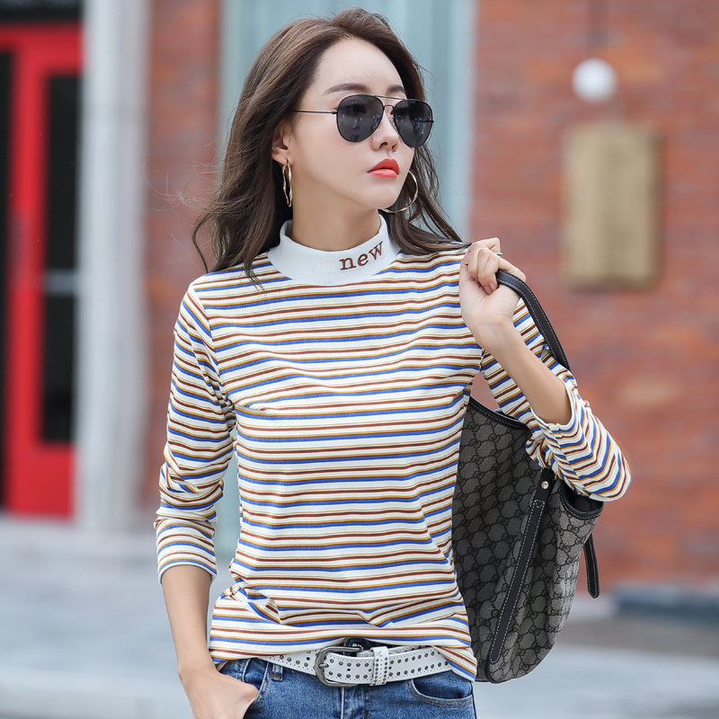 Spring new color striped half high collar top womens long sleeve T-shirt Plush warm trend top embroidery
