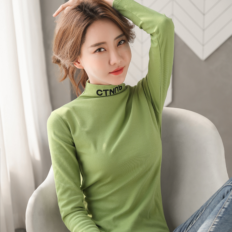 Spring and Autumn New Womens wear top long sleeve T-shirt slim half high collar with bottom coat foreign style trend cotton T-shirt