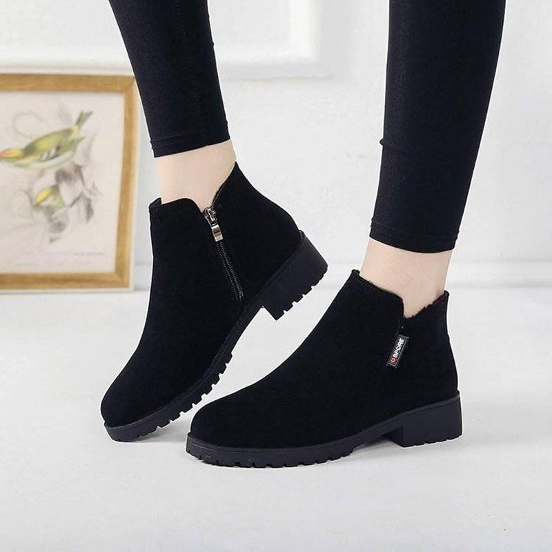 棉鞋女2019秋冬女鞋新款韩版粗跟加绒保暖短筒女靴防滑妈妈棉靴