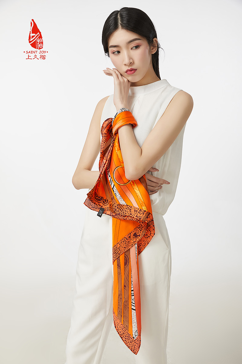 Saintjoy / shangjiukai silk versatile spring and summer silk scarf square scarf silk thread fj16030