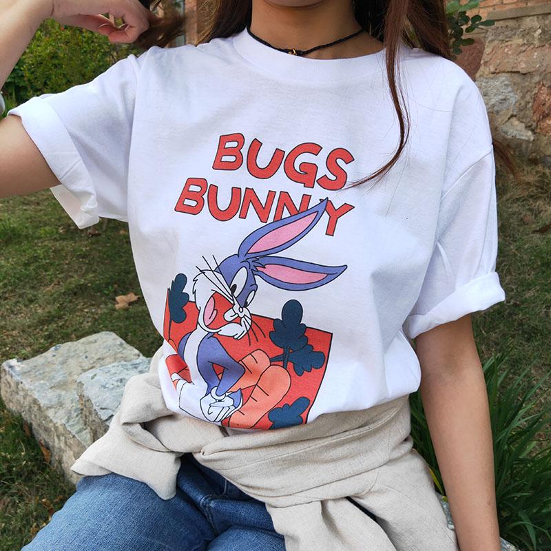 原创自制纯棉舒适白色百搭T恤女宽松显瘦潮流新款可爱卡通兔八哥