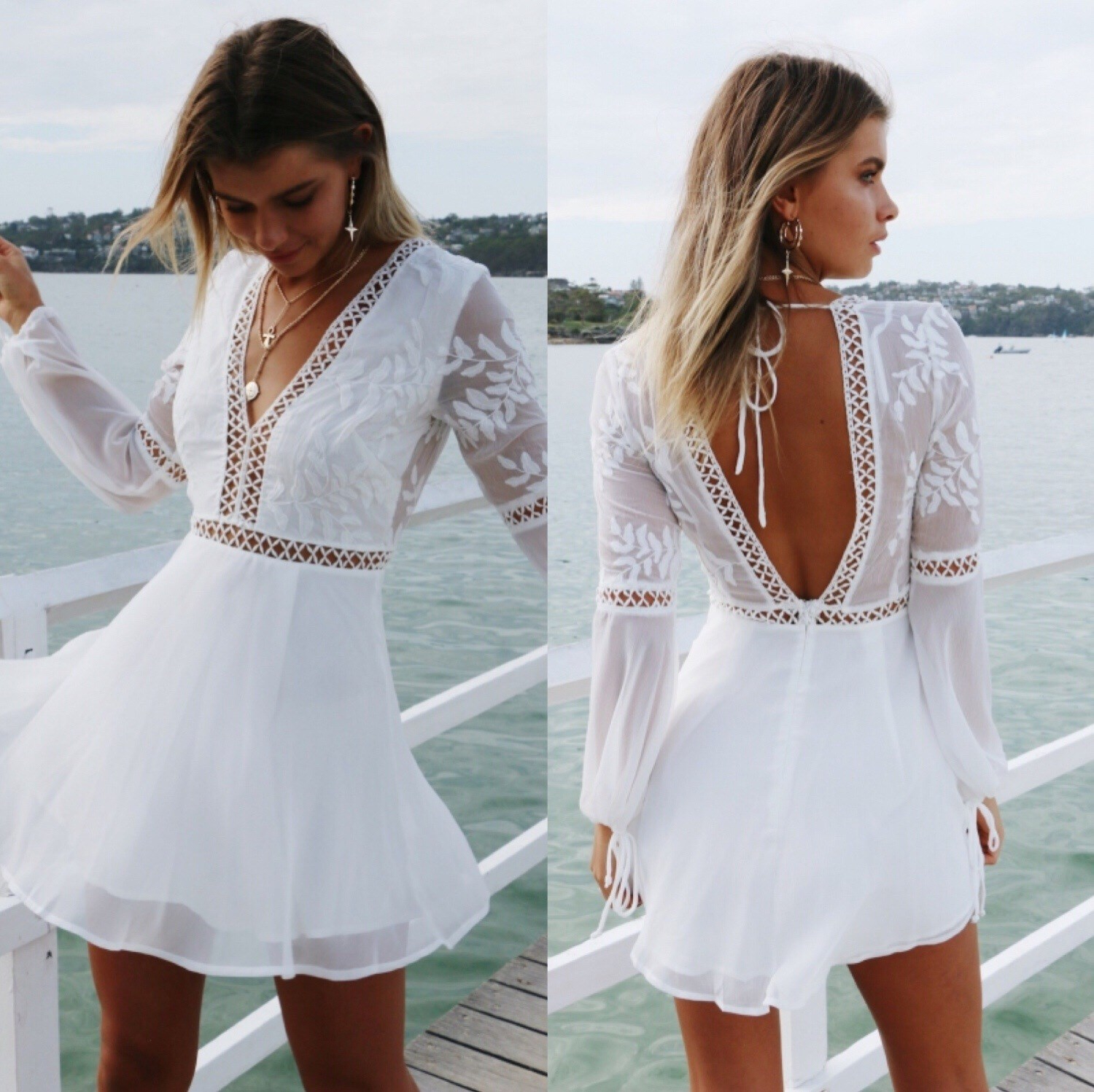 Sexy casual V-neck halter stitching long-sleeved dress