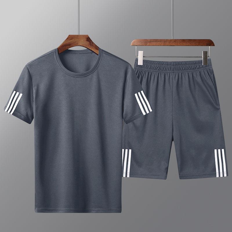 两件套男士运动套装夏季薄款大码短袖短裤速干加肥加大青年爸爸装