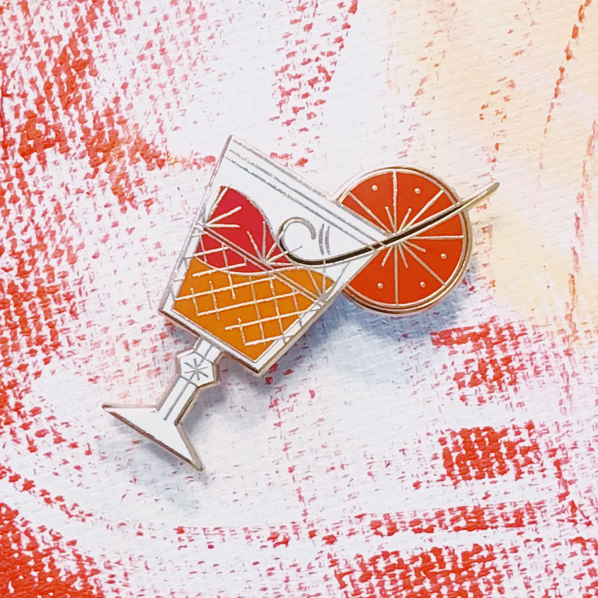 Designer original vintage drink bar cocktail summer ins style independent small BROOCH BADGE bartender