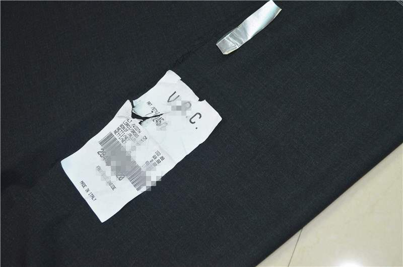 Italian high-end charcoal black all wool V * C worsted fabric suit trousers vest dress wide leg pants