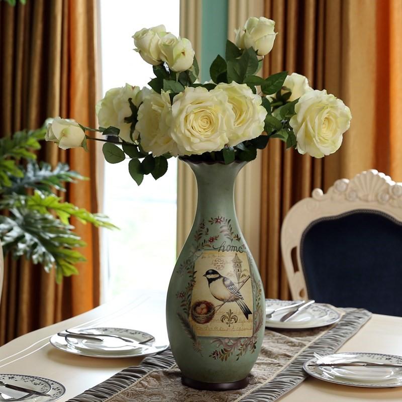 美式陶瓷落地大花瓶摆件客厅插花瓶欧式复古新中式艺术家居装饰品