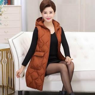 妈妈装棉马甲冬季背心坎肩中老年女装中长款冬装棉衣羽绒棉服外套