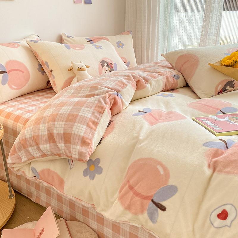 冬季双面加厚法兰珊瑚绒床上四件套法莱牛奶绒面床单加绒被套床品