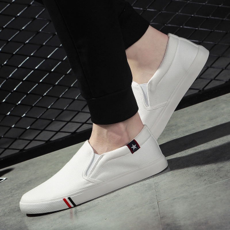 Spring thin loafer shoes mens canvas shoes junior high school boys cloth shoes leisurely Korean flat shoes without shoes