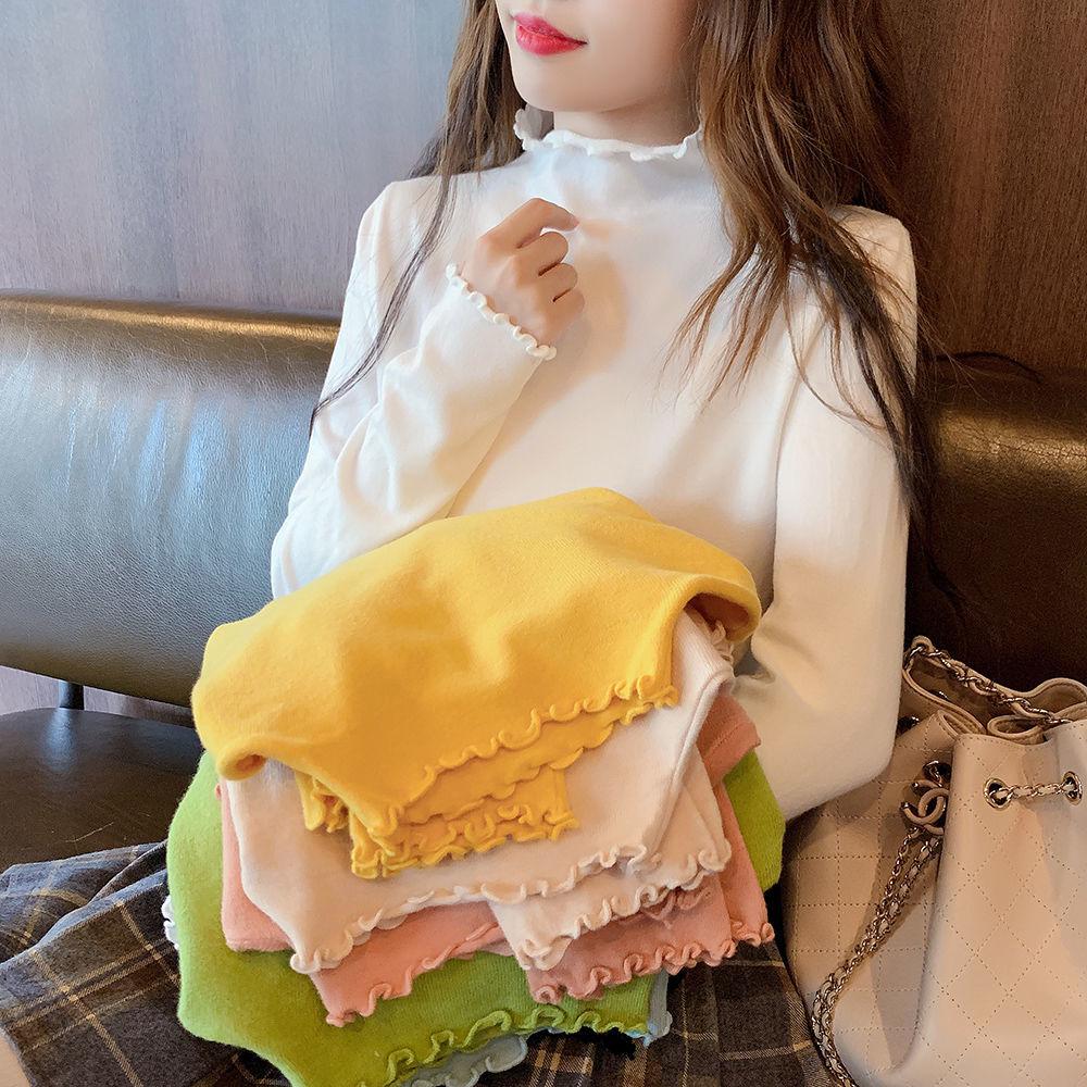 白色长袖半高领t恤女秋冬打底衫内搭紧身网红上衣ins加绒黑色体恤