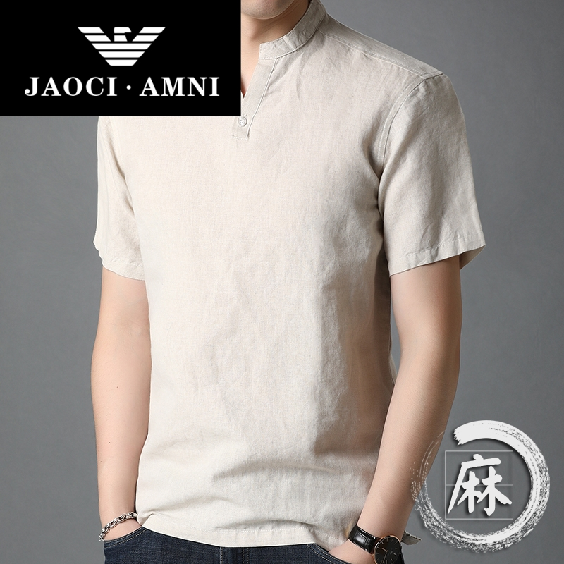 Genuine summer mens Hemp short sleeve T-shirt V-neck middle-aged simple cotton hemp. Dads thin top