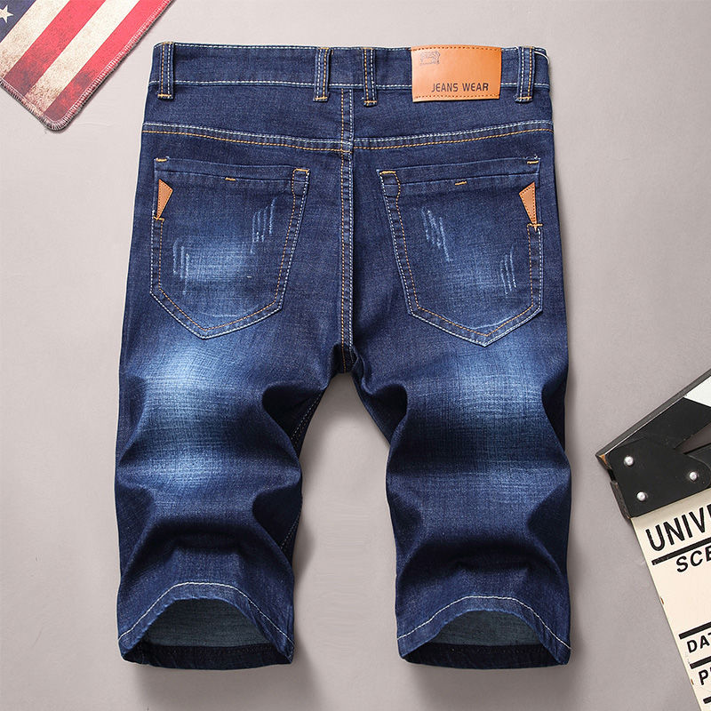 20 summer thin stretch mens jeans shorts Capris middle pants retro loose straight large PANTS YOUTH