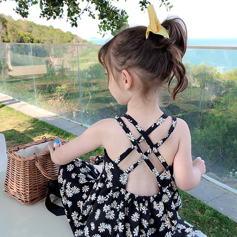 女童吊带裙 2021夏季新款儿童连衣裙宝宝露背小雏菊海边度假裙子